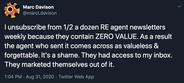 A tweet from Marc Davison