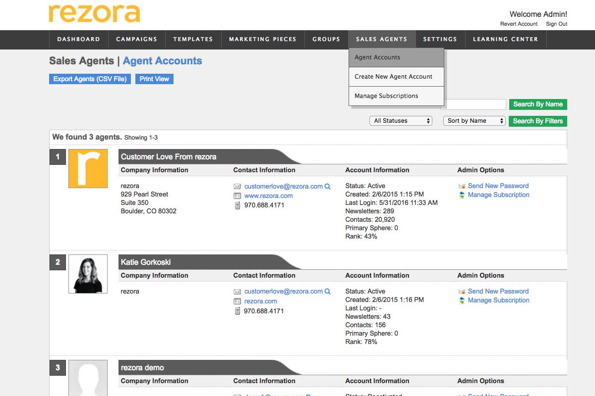 Sales Agent Account Management